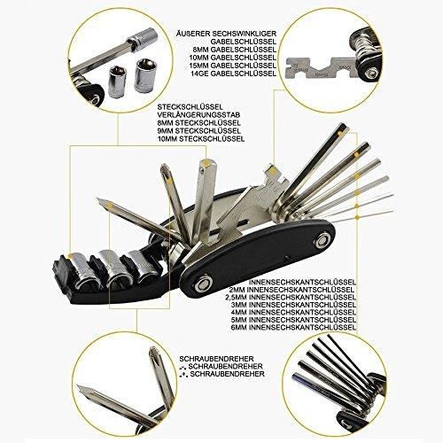 DAWAY Multitool Fahrrad Reparatur Set – B32 Fahrrad Werkzeug Reparaturset, 16 in 1 Multifunktionswerkzeug, Reifenheber, Selbstklebendes Fahrradflicken Inbegriffen, 6 Monate Garantie - 2