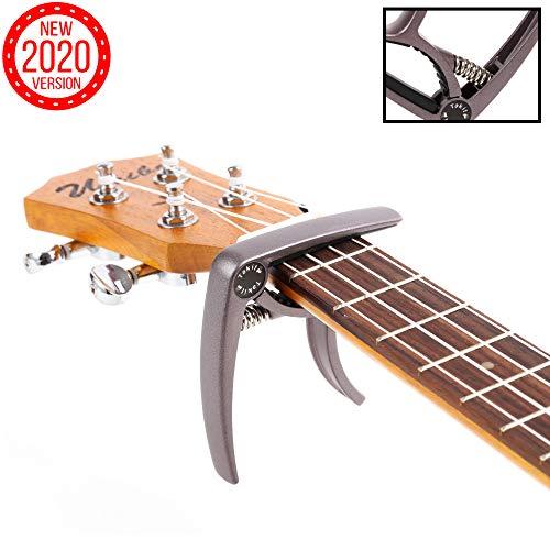 TAKIT Cejilla para Guitarra Acústica y Eléctrica - GARANTÍA DE POR VIDA - Apta para Ukelele, Banjo y Mandolina - Profesional, Alto Rendimiento - Fabricada con Aleación de Zinc - Marrón