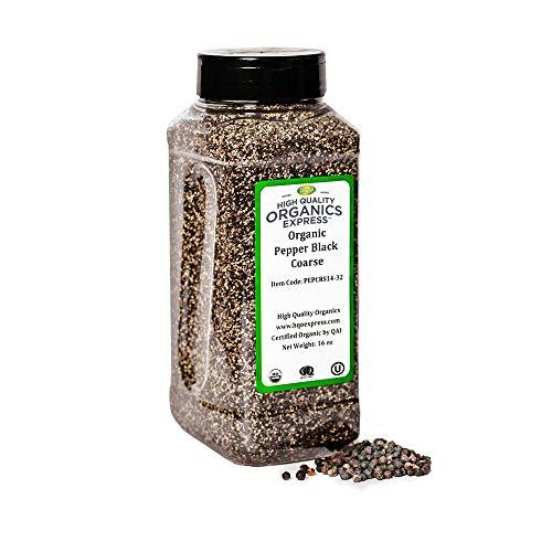 HQOExpress | Organic Black Pepper Coarse 14 Mesh | 16 oz. Chef Jar