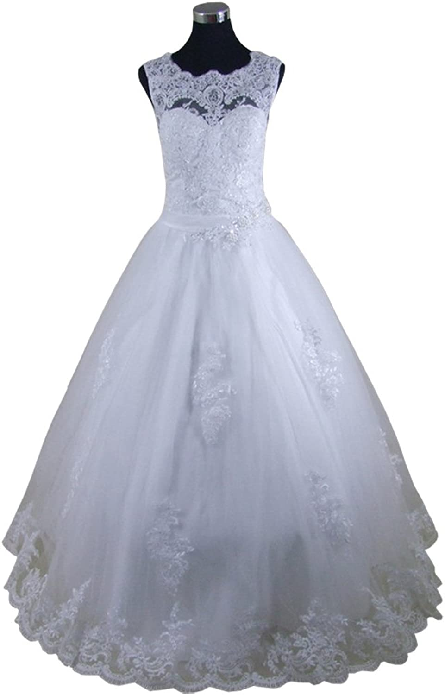 Honeydress Women's Pearls Appliques Sleeveless Train Wedding Dress Bridal Gown