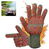 GTEFWZ Hot Grillen Handschuhe hitzebeständig, Mikrowelle Handschuhe Küche Backofen Handschuhe sehr Backen geeignet zum Backen und EIN Paar der Mode Grillen