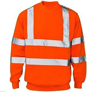 xpaccessories Mens High VIZ Highway Workwear Sweatshirt Crew Neck Reflective Hi VIS Striped Jacket Tops UK S-5XL