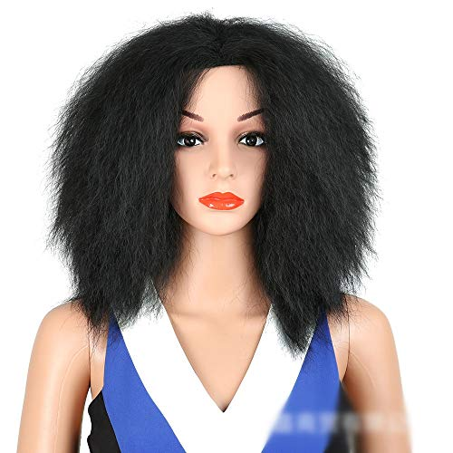 Wudimaoyiyouxian Afro Kinky cheveux raides chaleur synthétique résistant à cheveux Moyen partie Fluffy perruque for les femmes (Color : Black)