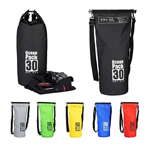 Relaxdays Ocean Pack 30 L, waterafstotende Dry Bag voor waardevolle spullen, lichte droogzak voor outdoor sport, zwart