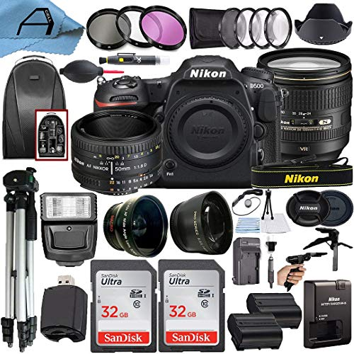 Nikon D500 DSLR Camera 20.9MP with NIKKOR 24-120mm f/4G ED VR & 50mm f/1.8D Dual Lens, 2 Pcs SanDisk 32GB Memory Card, Backpack, Tripod, Slave Flash Light & A-Cell Accessory Bundle