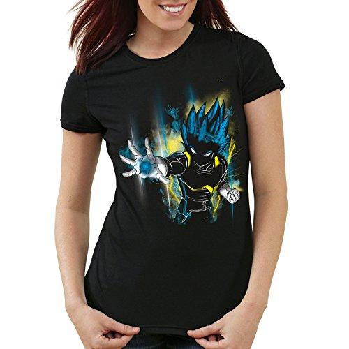 CottonCloud Power of Vegeta T-Shirt Femme God Z Goku Roshi Ball, Couleur:Noir, Taille:XS