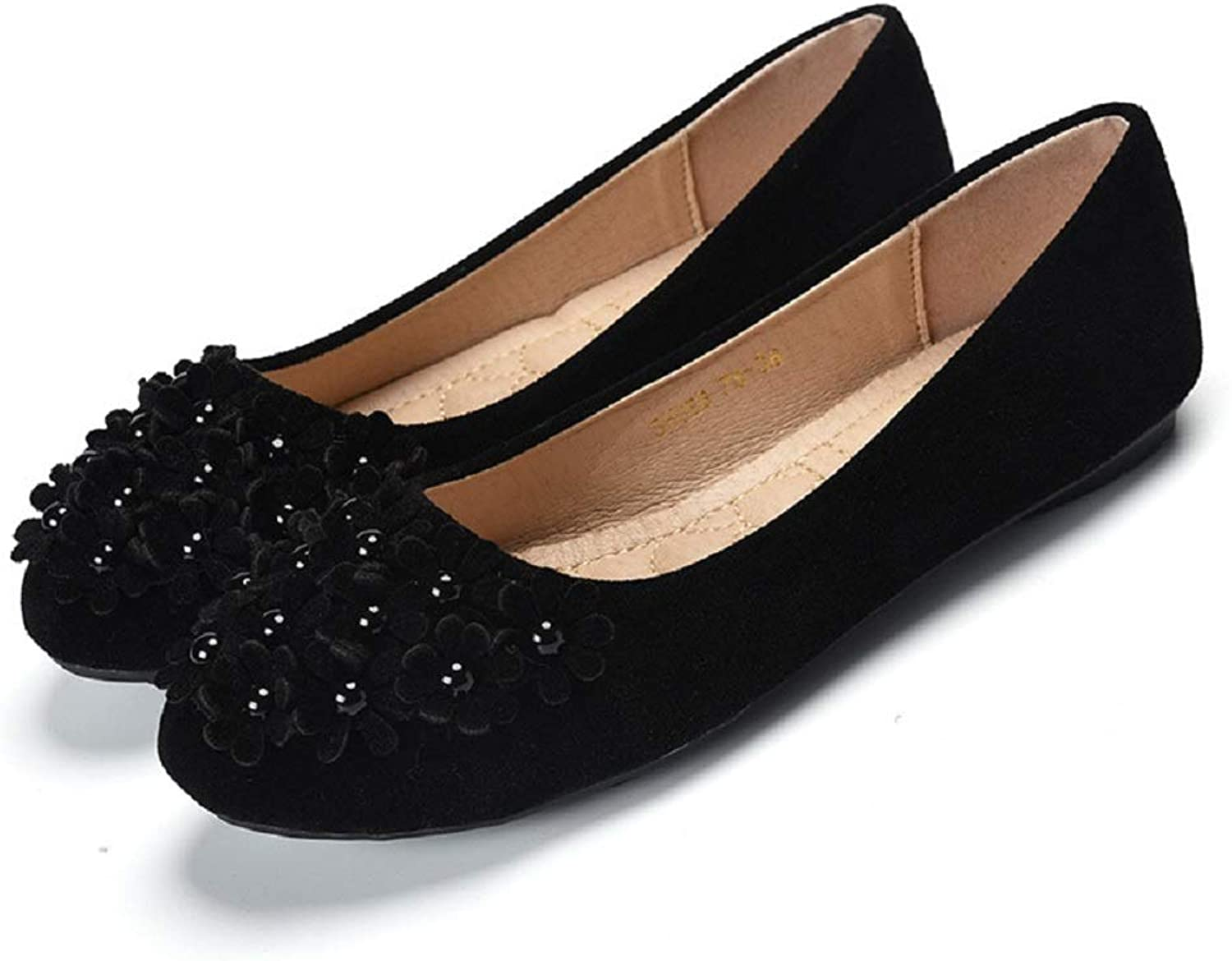Rhinestone Ballet Flats Women Flower Faux Suede shoes (color   Black, Size   CA 12)