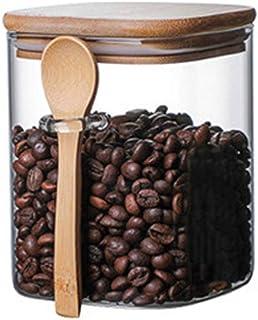 TAMUME Pot de Rangement de Cuisine avec Cuillère en Bois, Verre à Sucre et à Thé (800ML)