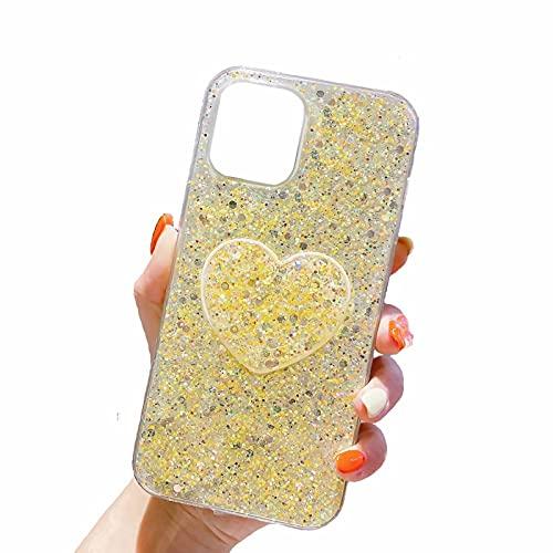 Miagon Silicone Glitter Coque pour iPhone XR,Cover Scintiller avec Cœur Supporter Titulaire TPU Gel Femmes Housse Souple Paillette
