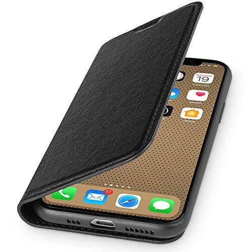 duoWERK Premium Tasche für Apple iPhone 11, mit Kartenfach, extra Dünn, Schwarz, Kunstleder Hülle kompatibel mit iPhone 11