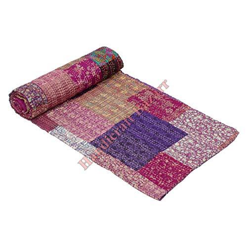 Amazon Brand Hippie Quilts Patola cama servidor hecho a mano Kantha Vintage manta Patchwork diseño impreso colcha colcha colcha colcha colcha patola cama cubierta de cama