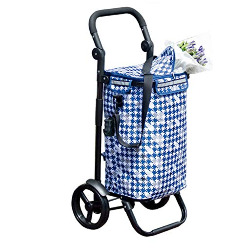 Hyzb Lightweight Shopping Trolley Wheeled Aluminum Alloy Push Cart Blue Large Capacity Travel Luggage Cart Foldable 2 Wheels (Color : Blue black tube)