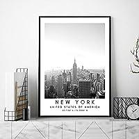 ニューヨーク風景ポスター黒白帆布絵画インテリアアメリカ旅行壁アートパネル都市コーディネート版画モダンビュー写真リビング ルーム部屋北欧装飾画