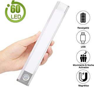 Luz LED Armario Luz Sensor Nocturna Lámpara, 60 LED Luz de Armario USB Recargable Magnético con 3 Modos, 3 colores, 1000mAh para Armario/Gabinete/Escalera/Sótano/Cocina/Pasillo/Baño/Dormitorio