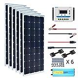 XINPUGUANG Kit Panneau Solaire 600W 12v + 60A Contrôleur de charge solaire + Câble pv + Z Support pour camping-car, bateau, toit, voiture, caravane, chargeur de batterie (600)