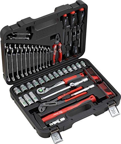 Meister 8973200 Gereedschapskoffer, 59-delig, montagegereedschapsset, voor het huishouden, garage & werkplaats, professionele gereedschapskoffer, gevuld, gereedschapskist, compleet met gereedschap