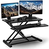 PrimeCables 32 inch Height Adjustable Sit Standing Desk Converter Dual Monitor and Laptop Riser...