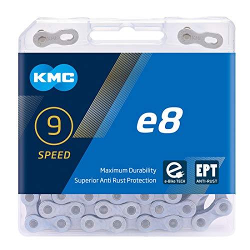 KMC E8 EPT 8-Gang-Kette, Dunkles Silber, 112 Links