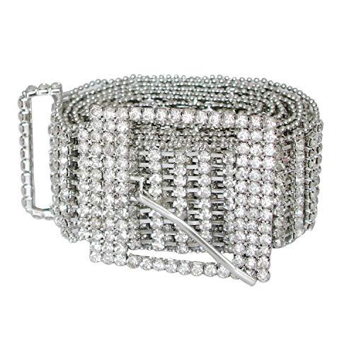 TonJin Cristal de plata Rhinestone Cinturón Cinturón Brillante Diamante Cadena de la correa Cinturón de moda Accesorio para vestido de mujer Jeans