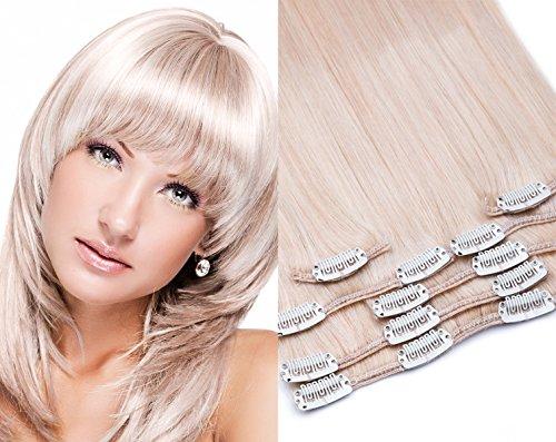 Clip In Extensions glamxte nsions 7 – Pièces Dans la lumière clair Couleur n ° 613 Blond – Longueur : 35, 40, 45, 55, 60, 70, 80 cm