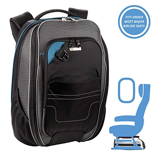 Lewis N. Clark Underseat Carry-on Backpack + RFID Protection System Anti-Theft Padded Laptop, Tablet, Cell Phone + Zipper Pockets for Travel Organization, Black, One Size