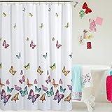 Kenmont Digital gedruckt Anti-Bakteriell Anti-Schimmel Duschvorhang Badvorhang Wasserabweisender Stoff für Badezimmer Dekoration (Rainbow Butterflies, 180x180cm)