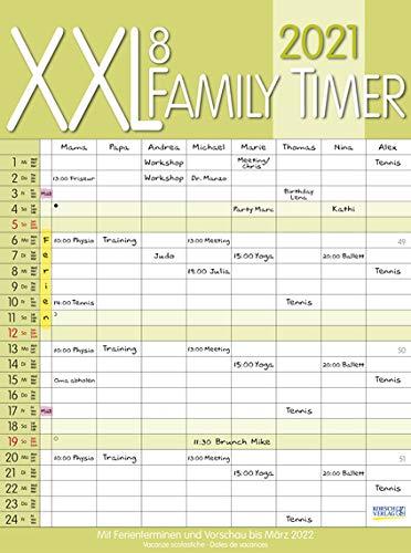 XXL 8 Family Timer - Familienplaner 2021 für 8 Personen - Korsch-Verlag - Kalender mit 8 Spalten zum Eintragen - 34,8 cm x 46,8 cm
