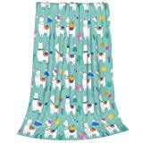 ECKOI Cute Llama Blanket for Boys Girls, Lightweight Travel Blanket, Decorative Extra Soft and Comfortable Warm Cozy Flannel Throw Blankets for Baby, Kids, Youth, Adult, 40X50 inches
