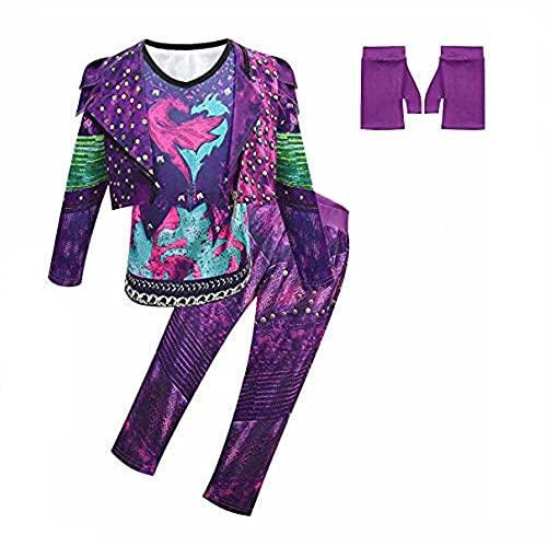 Disfraz de Cosplay de descendiente 3 para niños y Adultos, Disfraz de Halloween de Audrey Mal UMA, Vestido Elegante con Peluca de Cosplay, Traje Completo(Peluca no incluida)