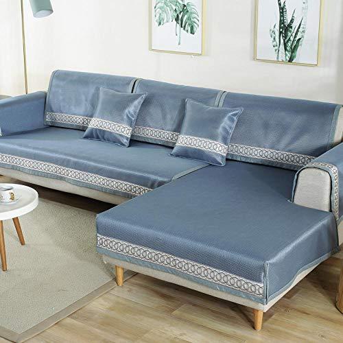 YUTJK Tvättbar sommar soffa kyldyna, stol Loveseat soffa soffa soffa överdrag bil soffa säng säte möbelöverdrag tyg, blå_110 × 160 cm