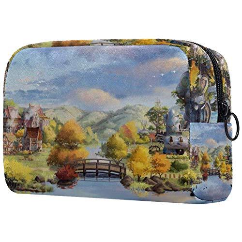 Fallen Leaves Lake Bridge Kosmetiktasche für Damen, kleine Make-up-Taschen für Toilettenartikel, wasserdicht, 18,5 x 7,5 x 13 cm