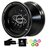 MAGICYOYO Responsive V6 Locus Aluminum Alloy YoYo Star Logo for Kids Beginner Learner with Yoyo Bag, Yoyo Glove and 5 Spinning Strings -Black