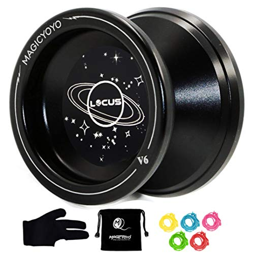 MAGICYOYO Responsive V6 Locus Aluminum Alloy YoYo Star Logo for Kids Beginner Learner with Yoyo Bag, Yoyo Glove and 5 Spinning Strings -Black