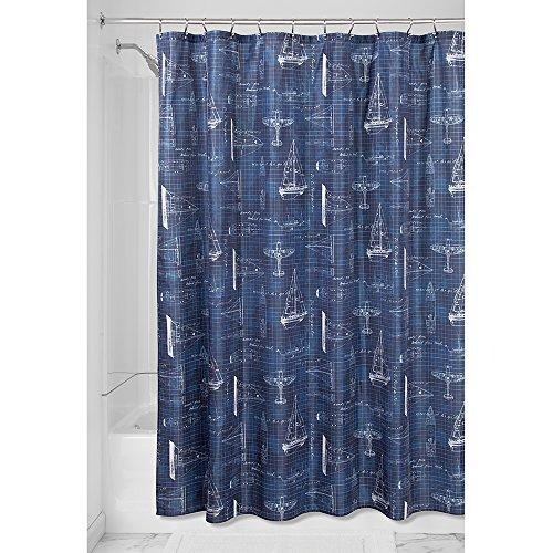 iDesign Sailboat Duschvorhang | Badewannenvorhang in 183,0 cm x 183,0 cm | Textil Duschvorhang mit Segelboot-Design | Polyester marineblau