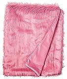 North End Decor Faux Fur, Mongolian Long Hair Watermelon Throw Blankets, 50x60 Large, Pink