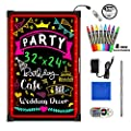 """Woodsam LED Message Writing Board - 32""""x24"""" Flashing Illuminated Erasable Neon Sign With 8 Fluorescent Chalk Markers - Perfect For Shop/Cafe/Bar/Menu/Wedding/Decoration/Promotion/School"""