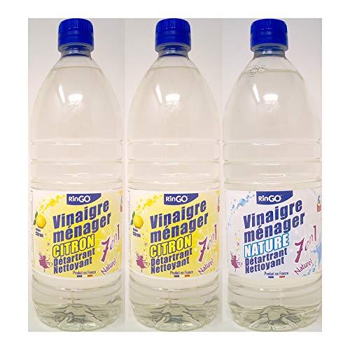 VINAIGRE BLANC MENAGER 12° - 100% NATUREL - 1 LITRE - LOT DE 3 BOUTEILLES - Parfums Nature Menthe et Citron