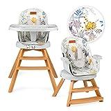 MoMi Woodi - Trona 3 en 1 para bebés y niños de 6 a 36 meses de vida (máx. 15 kg de peso corporal, 83 x 60,5 x 104 cm, peso 11,3 kg, cinturón de seguridad de 5 puntos, trona 360°)