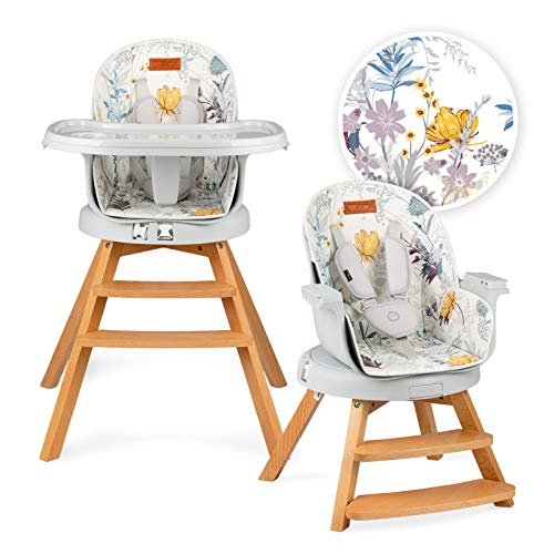 MOMI WOODI Trona 3 en 1 para bebés y niños de 6 a 36 meses (peso corporal máx.15 kg   83 x 60,5 x 104 cm, peso 11,3 kg, cinturón de seguridad de 5 puntos, trona 360 °   Flor