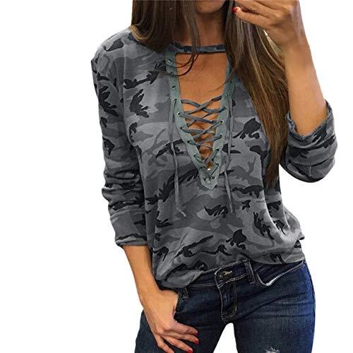 YDMZMS damessweatshirt, camouflage, V-hals, hoodie, lange mouwen, bandage, joggingpak, tops, S, grijs
