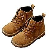 Botines para niños otoño e Invierno Cuero Botines cálidos Impermeables cómodos con Cordones Cremallera Lateral Zapatos Planos Antideslizantes Zapatos para niños pequeños