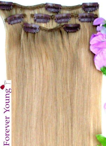 Forever Young Extensions de cheveux humains à clipser Demi tête 40 g Longueur 40,6 cm Blond naturel #20