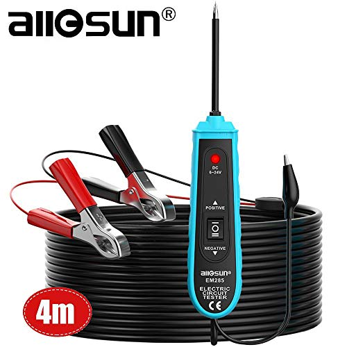 AllSun EM285 Power Probe Car Circuit Tester with Automotive Electric System 624V DC Tools Support Track and Locate Short Circuits Test for Continuity with The Assistance of Auxiliary Ground Lead