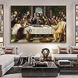 Póster de arte 50x70cm sin marco Cuadros La última cena Pintura de arte Famoso Jesús Cuadro de pared Cartel de decoración del hogar cristiano para sala de estar