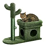 Catinsider 2 in 1 Cat Scratching Post Kitty Condo with Dangling Ball for Small Cats Green