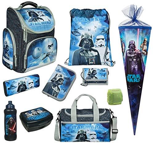 Familando Star Wars Classic Schulranzen-Set 10 TLG. Modell CLOU Ranzen 1. Klasse | Schultasche mit Sporttasche und Schultüte 85cm | Blau | Regenschutz