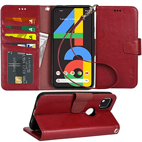 Arae Case for Google Pixel 4A PU Leather Wallet Case Cover [Stand Feature] with Wrist Strap and [4-Slots] ID&Credit Cards Pocket for Google Pixel 4A - Wine Red