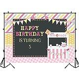 Feliz Quinto cumpleaños telón de Fondo Pizarra Limonada Rayas niños cumpleaños Fiesta decoración Fondo Estudio fotográfico A1 10x10ft / 3x3m