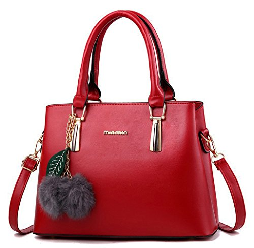 Dreubea Women's Leather Handbag Tote Shoulder Bag Crossbody Purse Wine Red