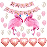 Geburtstag Party Dekoration Flamingo Luftballon partyzubehör Kindergeburtstag Set Helium Ballons,Happy Birthday Girlande,Folienballon Herz Deko Set Rosa
